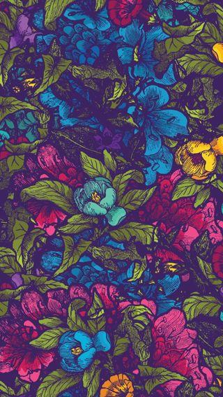 Обои на телефон векторные, цветы, фиолетовые