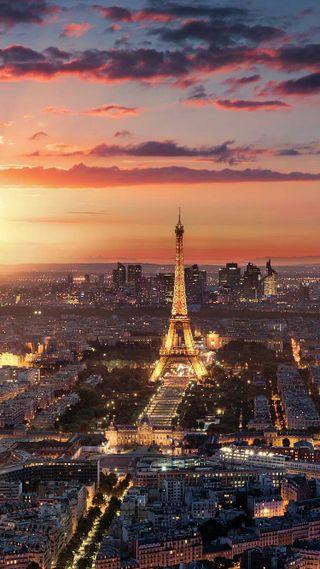 Обои на телефон франция, париж, огни, закат, город, башня