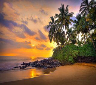 Обои на телефон рай, тропические, закат