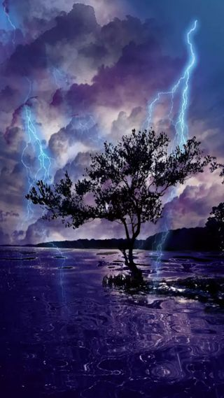 Обои на телефон шторм, природа, молния