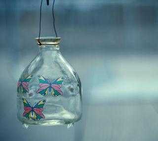 Обои на телефон узоры, стекло, бабочки, bank