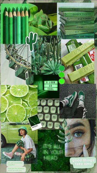 Обои на телефон эстетические, монтаж, зеленые, девушки