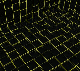 Обои на телефон куб, черные, рамка, провод, коробка, желтые, wireframe, cube frame, 3д, 3d