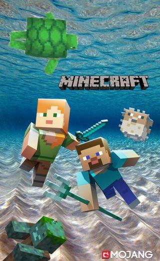 Обои на телефон черепаха, подводные, майнкрафт, игра, жизнь, pufferfish, minecraft underwater