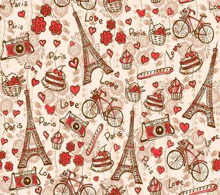 Обои на телефон эйфелева башня, шаблон, цветы, сердце, париж, башня