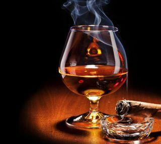 Обои на телефон сигара, напиток, дым, виски, алкоголь, brandy