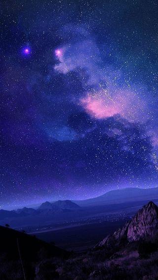 Обои на телефон планета, небо, звезды, горящий