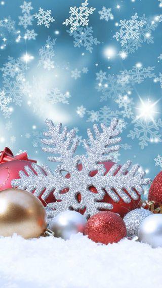 Обои на телефон украшение, снежинки, рождество