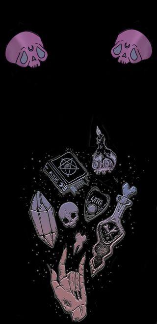 Обои на телефон ведьма, эмо, череп, фиолетовые, розовые, камни, волшебные, tumblr, spells, bewitching