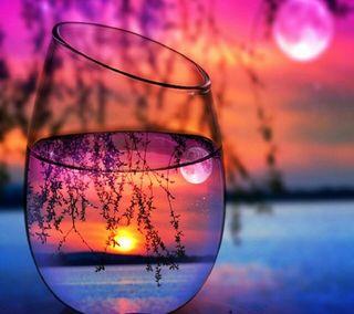 Обои на телефон стекло, солнце, природа, прекрасные, пейзаж, закат, вечер, sunset in glass