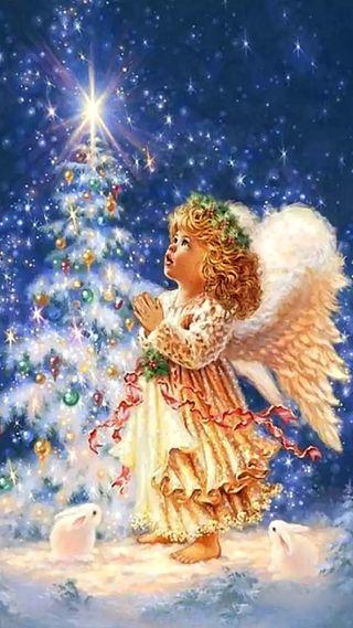 Обои на телефон год, рождество, новый, магия, дерево, ангел, new year tree