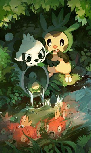 Обои на телефон манга, покемоны, игра, зеленые, аниме, poket, pokemons, monster