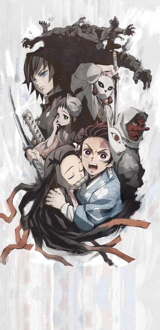 Обои на телефон демон, аниме, tanjirou