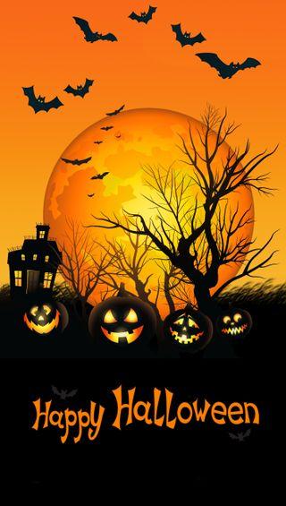 Обои на телефон хэллоуин, оранжевые, летучая мышь, дерево, луна, pumkin