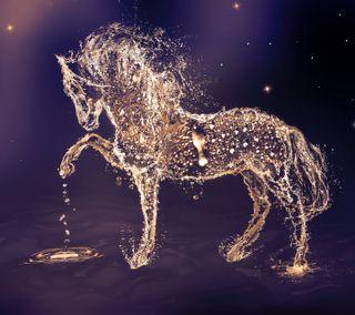 Обои на телефон лошадь, ночь, арт, art