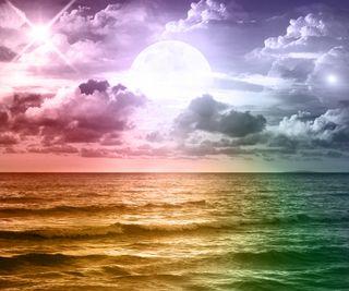 Обои на телефон планеты, цветные, фантазия, радуга, пейзаж, океан, море, луна