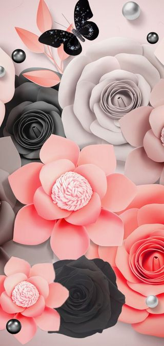 Обои на телефон черные, цветы, ультра, розовые, панч, отверстие, жемчужина, бабочки, s20 ultra s20 plus, s20 plus, hole punch, hide