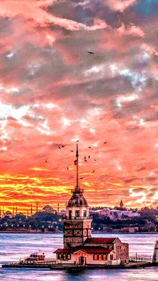Обои на телефон церковь, стамбул, турецкие, дождь, города, город, kule, deniz