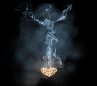 Обои на телефон свечи, исус, дым, господин, бог, jesus in smoke gs3, gunzcoty