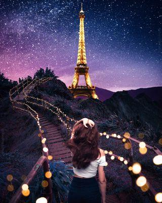 Обои на телефон париж, ночь, мечта, paris dream