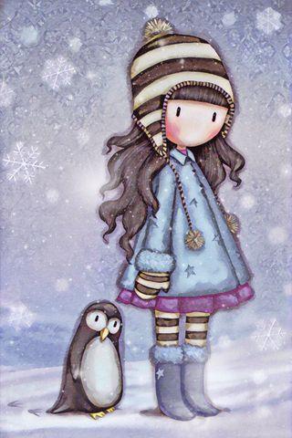 Обои на телефон холод, снежинки, снег, пингвин, лучшие, зима, друзья, девушки, gorjuss
