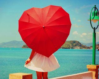 Обои на телефон амбрелла, сердце, пейзаж, ожидание, одиночество, море, любовь, красые, девушки, грустные, валентинка, love, heart umbrella