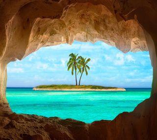 Обои на телефон рок, природа, пляж, пальмы, отверстие, море, деревья, pal