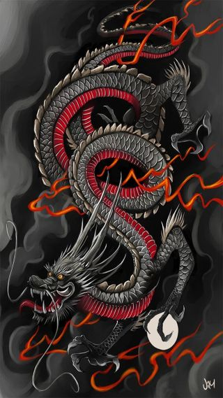 Обои на телефон японские, дракон, mitico, jimjaz, japon, dragon