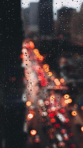 Обои на телефон позитивные, огни, дождь, день, город
