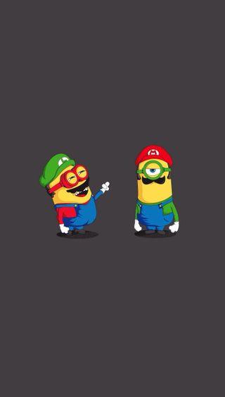 Обои на телефон марио, миньоны, minion mario