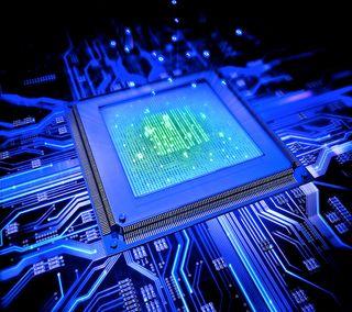 Обои на телефон цпу, микросхема, синие, абстрактные, chip, blue chip
