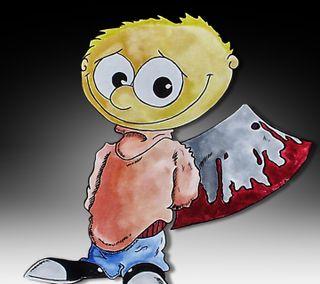 Обои на телефон фотошоп, ужасы, мультфильмы, мальчик, jim gade, gade, boy with axe, axe