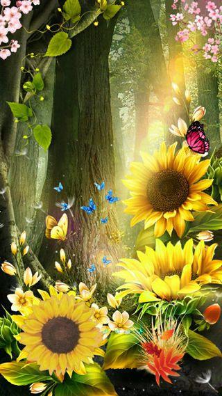 Обои на телефон небеса, цветы, подсолнухи, желтые, бабочки, sunflower heaven
