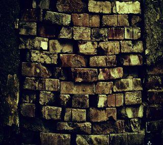 Обои на телефон кирпичи, темные, стена, dark brick wall, 2160x1920