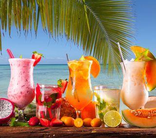 Обои на телефон фрукты, еда, тропические, пляж, пальмы, напиток, напитки, лето, алкоголь
