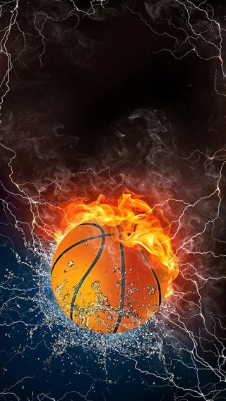 Обои на телефон гром, спорт, огонь, дым, вода, баскетбол