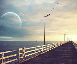 Обои на телефон птицы, мост, прекрасные, пирс, пейзаж, море, луна, вид, lakeside