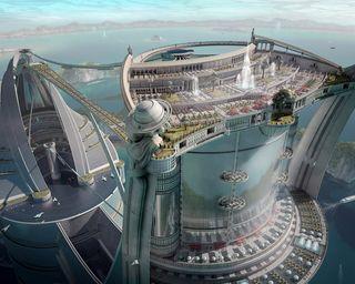 Обои на телефон фантастика, лодки, пейзаж, облака, небоскребы, море, город, вода, будущее, city at sea
