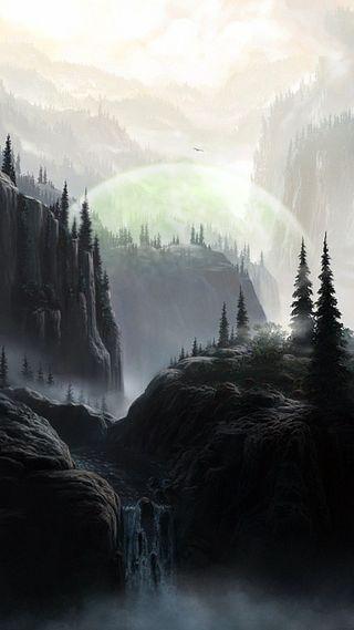 Обои на телефон туман, горы