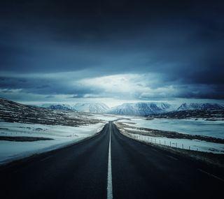 Обои на телефон дороги, снег, лед, горы, iceland