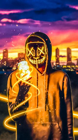 Обои на телефон хакер, неоновые, маска, мальчик, анонимус, neon mask, badmashboy, badmash boy