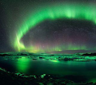 Обои на телефон озеро, небо, природа, аврора