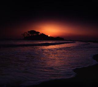 Обои на телефон берег, пляж, океан, море, дерево, горы, восход, вечер, hd, foam