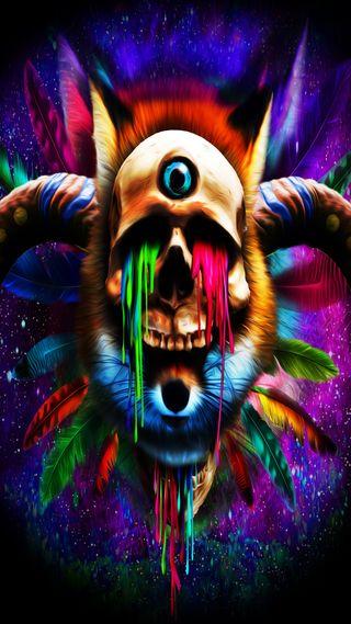 Обои на телефон череп, странные, рисунки, абстрактные, psychedelia
