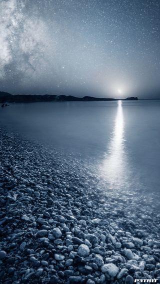 Обои на телефон отражение, природа, пляж, ночь, луна, hd, 720p