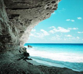 Обои на телефон берег, природа, пляж, пещера, пейзаж, океан, море, вода