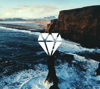 Обои на телефон утес, бриллиант, рок, природа, пляж