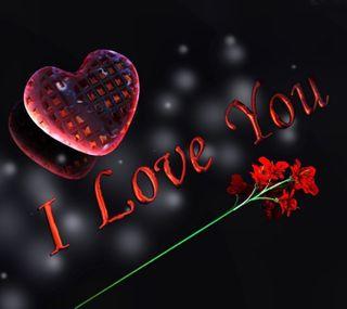 Обои на телефон i love you, red flower, 2160x1920px, любовь, черные, красые, сердце, цветы, ты, день