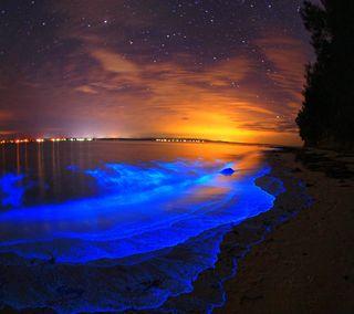 Обои на телефон светящиеся, песок, пляж, океан, море, закат