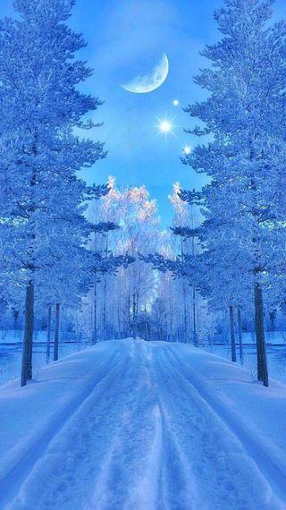 Обои на телефон galaxy, winter fantasy, синие, галактика, небо, зима, луна, снег, фантазия, деревья, холод, мороз, тропа